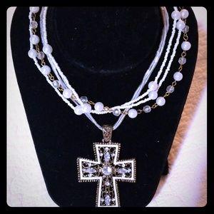 Lovely 6 Strand Rhinestone Cross Necklace